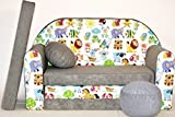 Pro Cosmo - Canapé-lit pour Enfant - A5 - avec Pouf/Repose-Pieds/Oreiller - en Tissu - Multicolore - 168x 98x 60cm
