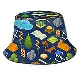 Be-ryl Camping Bois de Chauffage Tente Chien Carte Unisexe Impression Seau Chapeau pêcheur Chapeaux d'été réversible Packable Cap