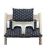 Blausberg Baby *4 couleurs* coussin set de siège pour chaise haute Stokke Tripp Trapp - 100% made in Hamburg (Happy Star Noir ENDUIT)