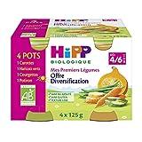 Hipp Biologique mes Premiers Légumes Carottes/Haricots Verts/Courgettes/Potiron Dès 4/6 Mois 4 Pots de 125 g
