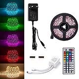 Sunix® Kit de Ruban LED RGB 2M 5050 SMD 60 LEDs, Adapteur Flexible Strip Light + télécommande à Infrarouge 44 Touches + Alimentation 2A 12V