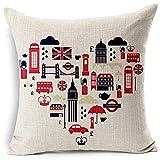 MZYZYH Taie d'oreiller décorative de Style Britannique Angleterre Londres Impression taie d'oreiller taie d'oreiller, canapé Familial Housse de Coussin de Chaise de Jardin en Plein air-5-45X45cm