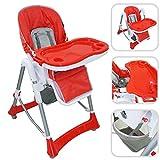 Todeco - Chaise Haute pour Bébé, Chaise Pliante pour Bébé - Taille déployée: 105 x 75 x 60 cm - Matériau: PP - Rouge