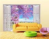 ShAH Papier Peint Photo Fake 3D / Fenêtre Cherry Romantique Canapé-Lit Chambre Salon Home Décoration Papier Peint Pour Les Murs 3D Papier Peint Wallpaper Fresque Mural 400cmX300cm