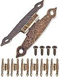 fuxxer–6x Antique Charnières | Bronze Fer Design | pour boîtes de portes coffres caisses schänke Armoire style rétro maison de campagne vintage | 65x 34mm Lot de 6