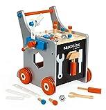 Janod - Brico'Kids Chariot de Bricolage Enfant en Bois - Magnétique - Imitation et Eveil - 25 Outils et Accessoires Inclus - Dès 18 Mois, J06478, Multicolore