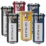 Durable 195700 KEY CLIP Porte-clés avec Porte-étiquette Personnalisable pour armoire à clés KEYBOX Coloris Assortis (2 Noir - 2 Bleu - 1 Jaune - 1 Rouge) Lot de 6