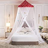 Princesse Dôme Moustiquaire de Lit Baldaquin, Beau les Dessins Animés Ciel de Lit pour Simple à King Size des Lits pour Enfants Décoratif de Chambre à Coucher-rouge_De 1,2 m