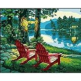Kit de peinture diamant 5D à faire soi-même par numéro, bord de lac, chaise longue, décoration de la maison, cadeaux de Saint Valentin 30 x 40 cm