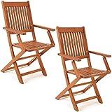 Deuba Set de 2 chaises de Jardin Pliantes 'Sydney' en Bois d'acacia certifié FSC pour Salon de Jardin Sydney accoudoirs extérieur Pliable Chaise de Table de Jardin pré-huilé Balcon terrasse