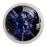 (4Pack) Commode Boutons De Verre En Cristal Boutons D'armoire Le Tiroir Tire Le Matériel De Poignée D'armoire Avec Pour Cuisine Épée Crâne Bleu