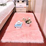 HirrWill Tapis Simili Laine Canapé en Cuir Salon Chambre Couverture Moelleuse Coussin de Baie vitrée, Rose pâle, 90 * 180cm [Rectangle]