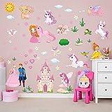 decalmile Stickers Muraux Licorne Princesse Autocollant Mural Fée Château Décoration Murale Chambre Bébé Fille Enfants Pépinière