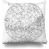 Babydo Throw Pillow Covers Univers Star High Carte du Ciel Détaillée De L'Hémisphère Sud Graphique Scientifique Abstrait du Sud Zodiac Galaxy Taie d'oreiller Durable Cadeau Personnalisé