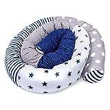 contour de lit bébé patchwork - tour de lit bébé protection lit bebe serpent de lit boudin lit tour de lit nuage Motif étoile bleue 300 cm