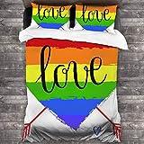 AIMILUX Parure de lit,Décorations de fierté Coeur Arc en Ciel dessiné à la Main avec des flèches et des griffonnages Mot d'amour homosexualité,Housse de Couette en Microfibre 240x260cm