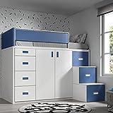 Meubles ROS Lit Mezzanine avec Armoire et tiroirs -165x204x165 cm (Blanc/Bleu, Échelle à la Droite)