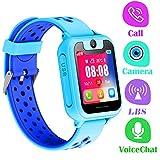Montre Telephone Enfant - Smartwatch LBS Tracker avec Caméra Jeux Lampe de Poche pour Garcon Fille Compatible avec Les Smartphone Android iOS (LBS, Blue)