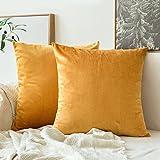 MIULEE Lot de 2 Housse de Coussin en Velours Décoratif Canapé Taie d'oreiller Super Doux Decoration Maison Salon Chambre pour Canapé 45X45CM Golden