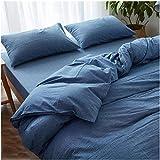 Une Paire de taies d'oreiller pour Femme au Foyer en Pur Coton - taies d'oreiller lavables en Machine faciles à entretenir-40 cm X 60 cm_Un Jean Bleu