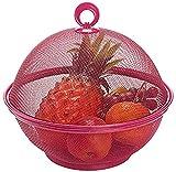 Gaojian Fruit Bowl Fer Forgé Fruit Basket, Métal Couvert Grille Nut Bonbons Panier pour Cuisine Bureau Décoration Stockage Compotier, Convient pour Le Salon d'accueil,Rouge