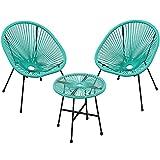 SONGMICS Salon de Jardin extérieur, Ensemble de 3 Meubles Acapulco, 2 chaises, 1 Table Verre trempé, pour terrasse, Balcon, intérieur, Turquoise GGF013C01