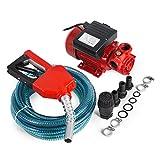 Mophorn Pompe à essence Diesel électrique pump380W pompe à essence 40 L/min à 2850 tr/min avec jeu de flexibles et injecteur de carburant