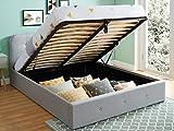 HOMIFAB Lit Coffre 140x190 cm Gris Clair avec tête de lit + sommier à Lattes – Collection Kate
