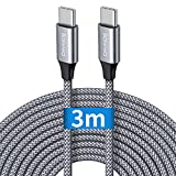 Câble USB C vers USB C 3m, Baiwwa Long Cable USB Type C Charge Chargeur Rapide PD 60W Nylon pour Samsung Galaxy S21 S20 S10 Ultra Plus fe Note 20 10