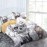 Linge de Lit Housse de Couette 200 x 230 cm + 2 Taie d'oreiller Imprimé Crâne et Fleurs Ensemble de Literie Tete de Mort Décoration – Blanc