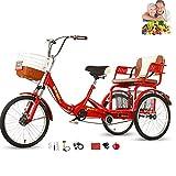 Tricycle Adulte vélo Pliant siège Confortable 3 Roues vélo arrière agrandi Panier de légumes Double chaîne 20 Pouces Fourche Avant Amortisseur pour Parents et Enfants Charge maximale 200 kg