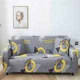 Housses de Canapé 1 2 3 4 Places Extensible, Morbuy Imprimé d'angle Accoudoirs en Forme de L Revêtement de Canapé Sofa Elastique Couverture Protecteur (Géométrique,1 Place)