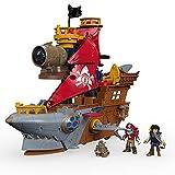 Imaginext le Bateau Pirate-Requin, 2 figurines de pirates, 4 projectiles et accessoires inclus, jouet pour enfant de 3 à 8 ans, DHH61