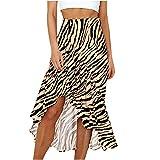 Liably Jupe plissée Y2K pour femme - Taille haute - Style décontracté - Avec volants imprimés - Style streetwear - Style bohémien - Mini jupe pour femme - Vert - Large