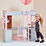Lit superposé Mezzanine avec Bureau et étagères de Rangement pour poupée Poupon Jouet Olivias Little World TD-0204AG