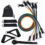 Loowoko Bande de Résistance Set, Bandes de Fitness Elastiques Kit avec Crochet de Porte et Sangle de Cheville pour Pieds et étui de Transport pour l'entraînement d'entraînement
