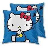 MISS-YAN Questions Hello Kitty Lot de 2 housses de coussin décoratives pour lit/chaise/canapé