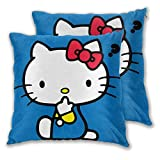 MISS-YAN Questions Hello Kitty Lot de 2 housses de coussin décoratives pour lit/chaise/canapé