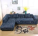ele ELEOPTION L Forme Stretch Canapé Couvre Polyester Spandex Tissu Housse 2 pcs Polyester Tissu Stretch Housses + 2 pcs Housses d'oreiller pour Canapé Canapé Sectionnel (Bleu (Feuilles))
