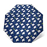 Parapluie Pliant, Parapluie Pliable Automatique Ouverture Et Fermeture Résistant à Tempête Compact Léger Parapluie De Voyage pour Homme Et Femme Lit Lambs Moon Stars