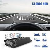 Affichage tête haute de voiture HUD, système d'affichage iKiKin 5,5 pouces OBD2 4K HD panneau d'affichage transparent HUD affiche l'alarme de compteur de vitesse