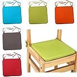 Lnimikiy Coussin de chaise carrés unis de 40 x 40cm, avec attaches pour décoration de terrasse, maison, canapé, voiture, bureau, tatami, etc., Pas de zéro, vert clair, 1 pièce