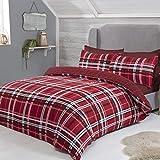Sleepdown – Parure de lit réversible avec Housse de Couette et taies d'Oreiller, Motif Tartan, Coton Polyester, Rouge, Super King Size