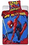 Spiderman Housse de Couette 140x200 cm + Taie d'oreiller 65x65 cm (Rouge, 140x200)