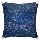 Mesllings Housse de coussin carrée Motif carte du ciel de l'hémisphère sud avec noms d'étoiles et de constellations C Taie d'oreiller décorative pour canapé 40,6 x 40,6 cm