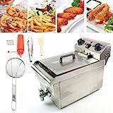 Friteuse professionnelle pour zones froides (10 l pour max. 6,5 l d'huile) en acier inoxydable avec contrôle de la température et robinet d'écoulement des graisses