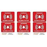Tiiwee Lot de 6 Autocollants - Rouge - Étiquettes Alarme Sécurité - Double Protection UV - Extra Laminé - Taille 70mm x 50mm - Extérieur