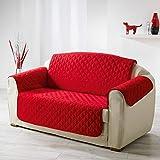 douceur d'intérieur 1605236 Protège Canapé Matelasse Microfibre Uni Club Rouge 223 x 179 cm