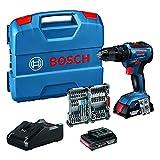 Bosch Professional 18V System Perceuse-Visseuse à Percussion sans Fil Gsb 18V-55 (Batterie 2X2.0 ah + Chargeur Inclus, 35 Pcs. Set d'Accessoires à Impact, dans une l-Case) - Amazon Exclusive Set