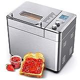 CalmDo Machine à pain en acier inoxydable - Grille-pain automatique avec 15 options de menus - Poids du pain : 500 g - 1000 g - Pour sandwichs, gâteaux, confitures et desserts, etc.